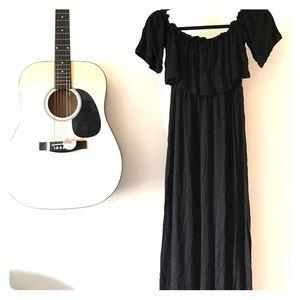 Black cotton knit maxi dress
